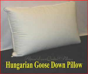 95% HUNGARIAN GOOSE DOWN 1 x KING SIZE PILLOW - 100% COTTON CASING