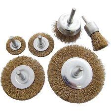 6pc Wire Brush Set Wheel Brushes Brass Coated Brush Wheel Rotary Cleaning Drill