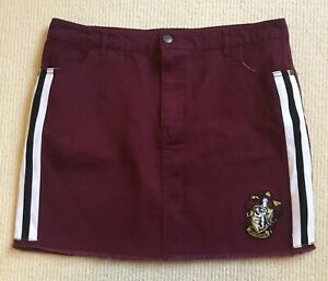 Harry Potter Skirt large Maroon White Stripe Pockets Jean Style Gryffindor