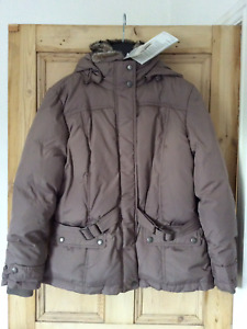 Boysen's Plus Size 20 Taupe Down Filled Winter JACKET Hood Faux Fur Trim £150