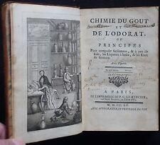 P. PONCELET - Chimie du goût et de l'odorat, ou ... (1755 - E.O. - Planches)