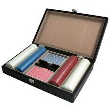 200 pc Poker Chip Game Set Wood Wooden Case Holder Box 2 Decks Cards 8.5g Chips