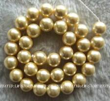 """12mm Yellow Rotundity Mother of Pearl Shell Beads 15.5"""""""