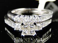 White Gold Princess Cut Engagement Bridal Wedding Band Diamond Ring Set 1 Ct