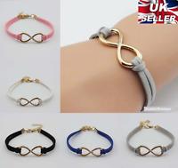 Gold Plated Infinity Leather Bracelet Lucky Friendship Birthday Gift  UK SELLER