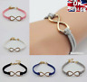 Gold Plated Infinity Leather Bracelet Lucky Friendship Birthday Gift  UK SELLER