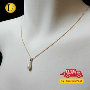 Genuine 9K Solid Yellow Gold Pearl Pendant Fine Chain Necklace (9ct 375)