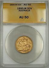 1895-M Australia Sovereign Gold Coin ANACS AU-50