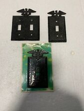 Lot Of 3 Edmar And Other Hammered Metal Switch Outlet Cover Eagle Patriotic