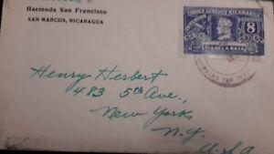 O) 1937 NICARAGUA, COLUMBUS, SC 218 - DOMESTIC POSTAGE, HACIENDA SAN FRANCISCO -