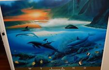 "WYLAND ""ISLAND DOLPHINS"" LARGE COLOR HAND SIGNED POSTER"