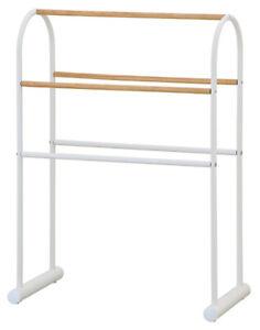 Freestanding Towel Rail Curved Holder Rack Stand Bathroom White Wood