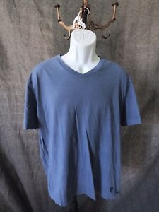 Men's Sz L Daniel Cremieux Short Sleeve V-Neck Shirt Blue Sz L
