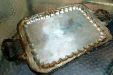 Serving Platter Scroll Square Handles Ornate Tray USA w/ Four Legs Silver Plate