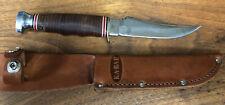 Vintage KA-BAR 1233 Stacked Leather Handle Hunting Skinning Fixed Blade Knife