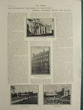 1900 VICTORIAN PRINT ~ EARL OF ROSEBERY HOMES ~ DURDANS EPSOM MENTMORE DALMENY
