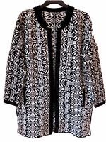 New Ex M&S Ladies Black Long Thick Casual Winter Cardigan Size S M L 12 -22
