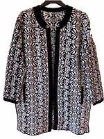 New Ex M&S Per Una Ladies Black Long Thick Winter Cardigan Size S M L 12 -22