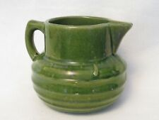 """Vtg 1920's McCoy green pottery pitcher, 6.5"""" wide; 5"""" tall, marked circle/shield"""