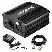 NEEWER 1 channel 48V phantom power adapter One XLR audio cable attached Capacito