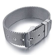 Men's Biker 316L Stainless Steel Classic Mesh Belt Cuff Bangle Bracelet Silver