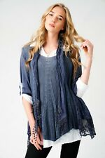 New Ladies Layered Lagenlook Italian Floral Lace Crochet Sequin Tunic Top Scarf