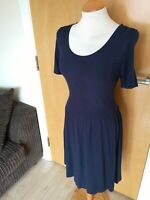 Ladies TU Dress Size 14 Navy Knit Smart Casual Day Skater