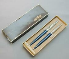 Stainless Steel & Dark Blue Jotter By Parker Mechanical Pencil & Pen Set In Box