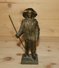 Vintage hand made bronze figurine man with hat and spear