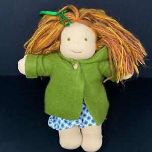 "Bamboletta Waldorf Classic Doll Orange Red Yarn Hair Green Eyes Coat Dress 15"""