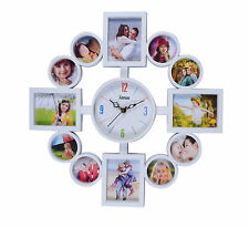 Arpan Wallclock Photo Family Time Frame Clock With 12 Pictures Photos - White