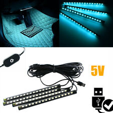 "4pcs  Ice Blue 8"" 12-LED Ambient USB Lighting Strips LED Fit Car Interior Decor"