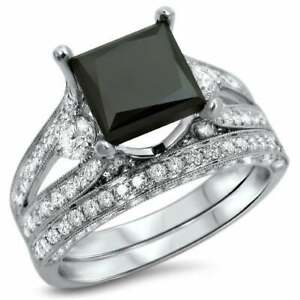 2.50 Ct Princess Cut Black Diamond Bridal Set Engagement Ring 14k White Gold FN