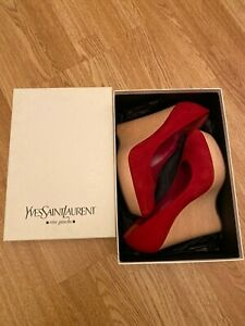 Ysl Saint Laurent Red Suede Wedge Shoes 39.5