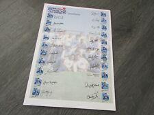 Nashua Titanes Sudáfrica equipo de cricket 2001/2002 pre autógrafo impreso Hoja