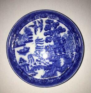 Antique 19th Century Miniature Willow Pattern Butter Dish George Jones