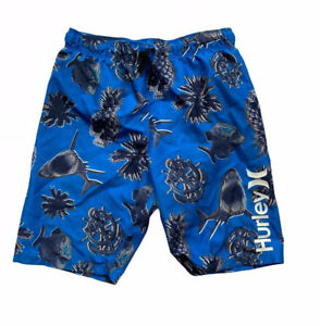 Hurley Swim Trunks Boys 10 12 Surf Board Shorts Shark Anchor Pineapple Blue