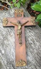 Beautiful Vintage Wooden Crucifix Brass Coloured Metal Detail