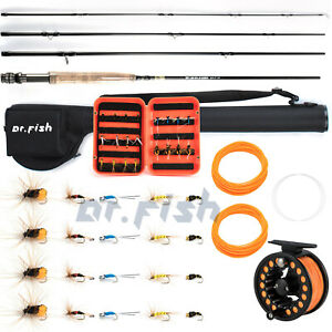 Dr.Fish Fly Fishing Rod Reel Combos 9ft Completed Outfit Kit W/ Flies and Case