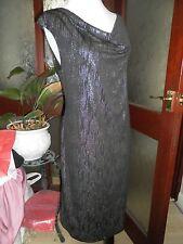 Kim & Co Raindrop Foil  Drape Neck Dress Black/Silver L Large BNWT