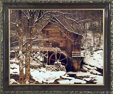 Glade Creek Mill Winter Snow Trees Scenery Wall Decor Mahogany Framed Picture