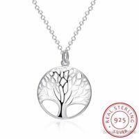 925 Sterling Silber Halskette Lebensbaum Anhänger Baum Des Lebens Damen Schmuck