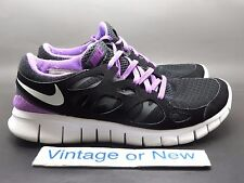 Women's Nike Free Run+ 2 Black White Anthracite Violet Running 443816-005 sz 8