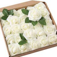 Roses Fleurs Artificielles-25 Pcs Grand PE Mousse Rose Artificielle TêTe de U1B1