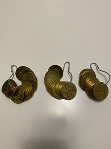 """Lot of (3) Brady Stamped Brass Valve Numbered Tags 1-1/2"""" Round"""