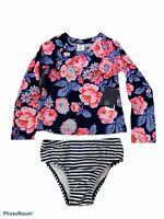 Baby Girls Gap Long Sleeve Navy Blue Pink Swimsuit Bathing Suit Rashguard New