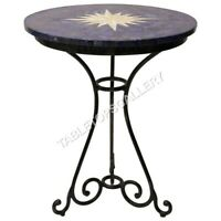 "24"" Marble Round Coffee Table Top Random Lapis Star Inlay Cafeteria Decors E586"