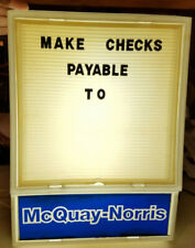 Vtg McQuay - Norris Message Board Display Wall Light Shop Store Sign & Letters #