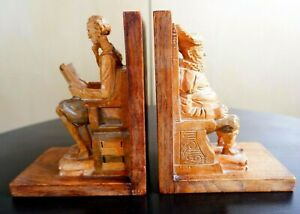 Stunning 1960's Spanish Ouro Hand Carved Bookends - Don Quixote & Sancho Panza