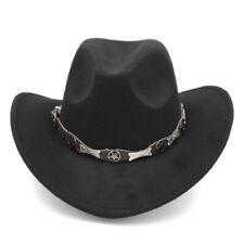 Retro Women Men Western Cowboy Hat Equestrian Cowgirl Cap Stiff Wide Brim BCLF